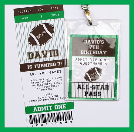 Football Party Printables, Invitations \ Decorations Football - printable ticket invitations