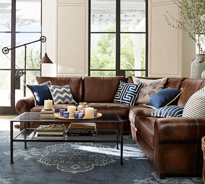 Turner Roll Arm Leather 3-Piece L-Shaped Sectional Pottery Barn - brown leather couch living room