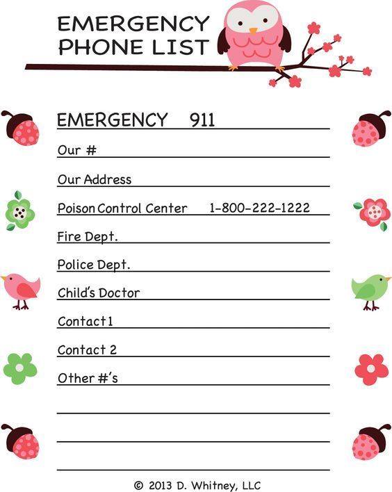 emergency phone list template for kids - Google Search - phone list templates