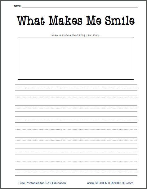 What Makes Me Smile Free Printable K 2 Writing Prompt