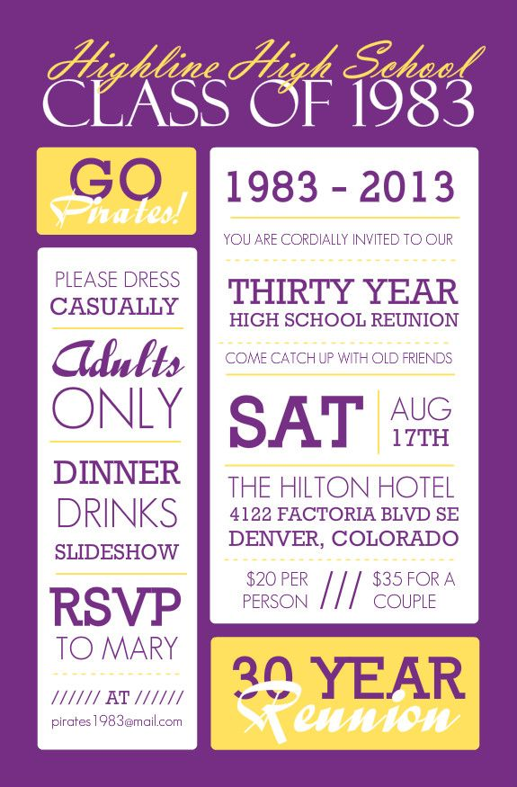 Poster Style Purple And Yellow Class Reunion Invitation Class - class reunion invitation template