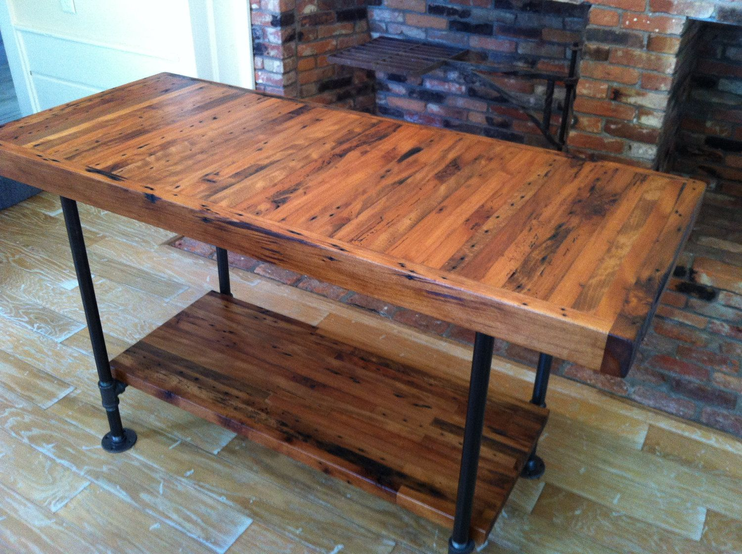 Kitchen Island Table Legs Kitchen Island Industrial Butcher Block Style Reclaimed