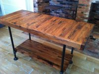 Kitchen island, industrial butcher block style, reclaimed ...