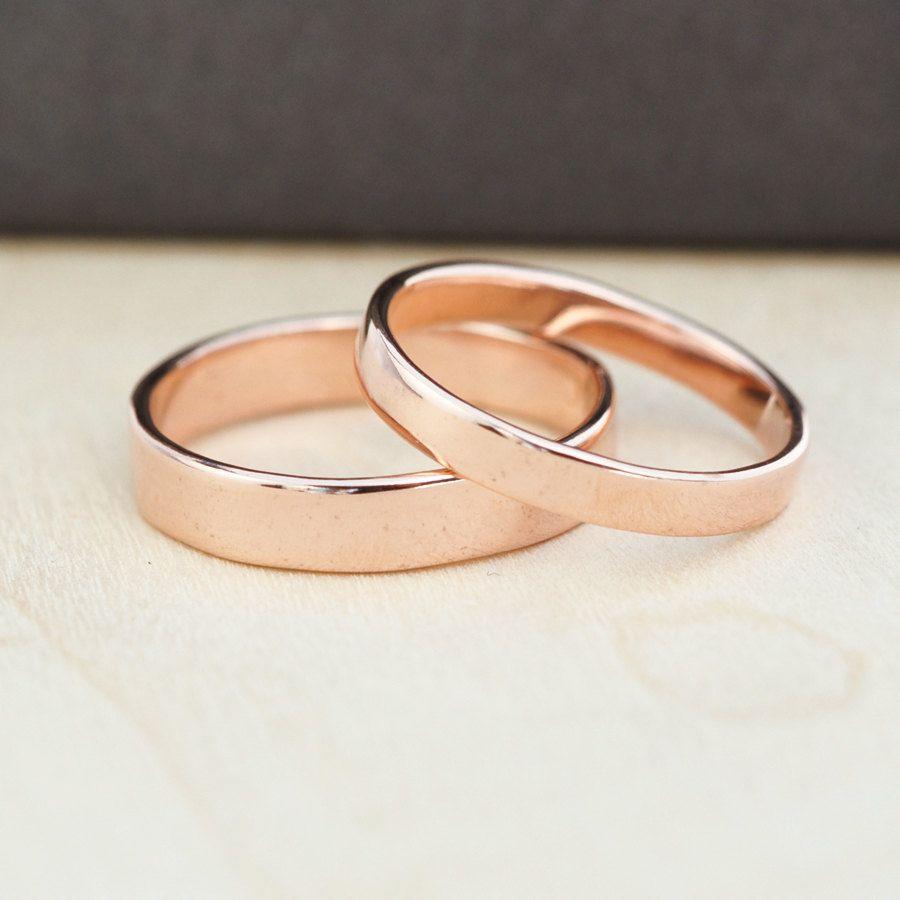 rose gold wedding rings 14K Rose Gold Wedding Band Set Gold Wedding Rings 3mm and 4mm Custom