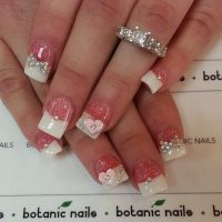 French nails with diamonds and glitter | nails | Pinterest ...