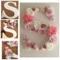 Wooden S Letter decorated with Silk Flowers | Wooden Sign ...