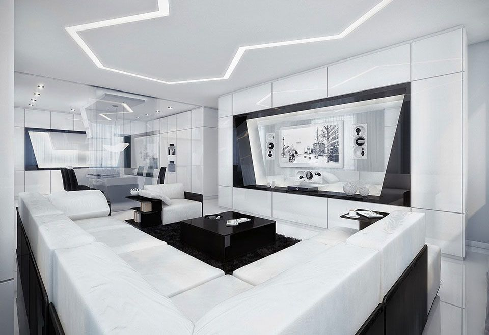 20 Wonderful Black and White Contemporary Living Room Designs - all white living room set