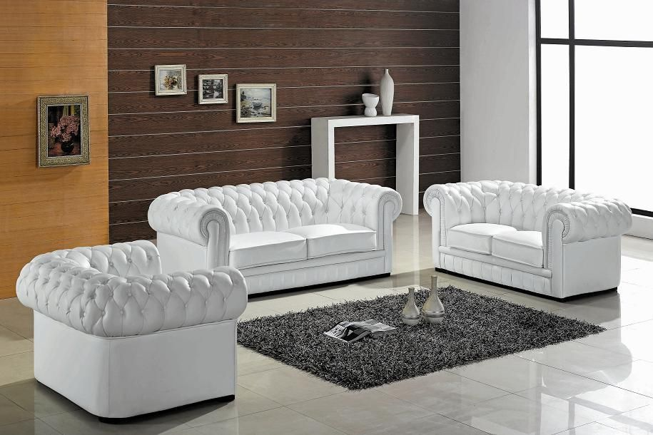 Divani Casa Paris Transitional Tufted Leather Sofa Set - VIG - gray leather living room sets