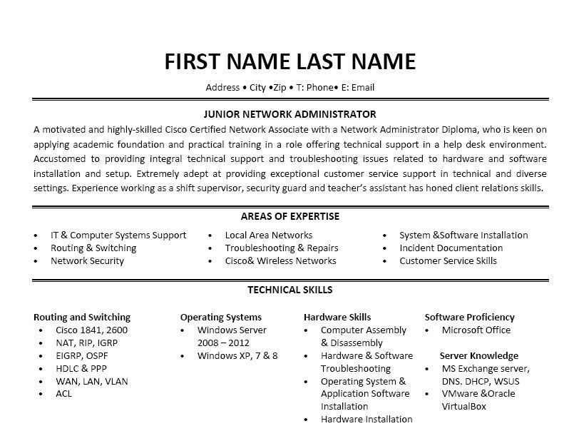 Click Here to Download this Junior Network Administrator Resume - networking skills resume