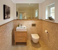 Tile Bathroom Half Wall Ideas. Tile wall finished off with ...