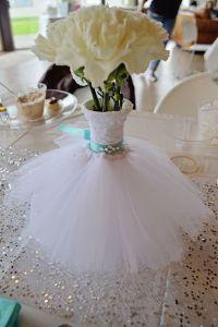 Wedding Dress Bouquet/Vase floral arrangement. Teal Bling ...