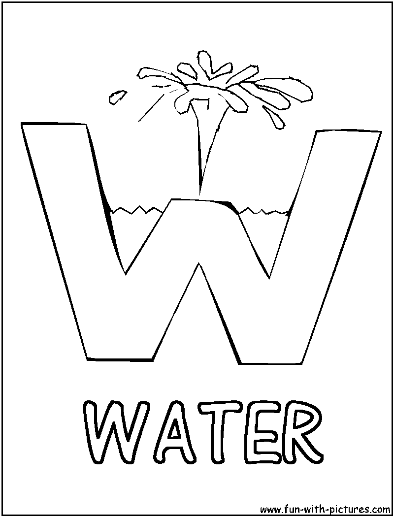 W is for water picture alphabets w coloring page
