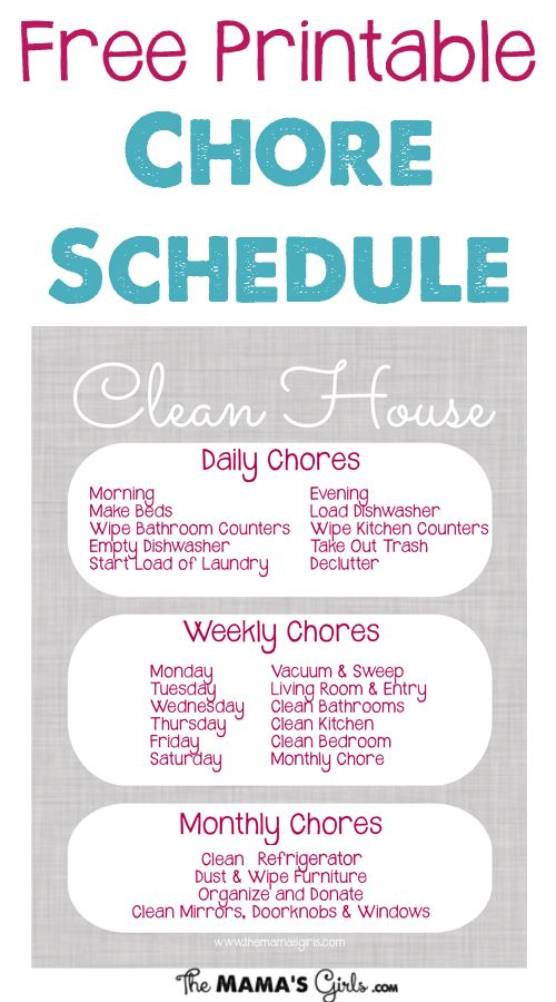 household chores schedules