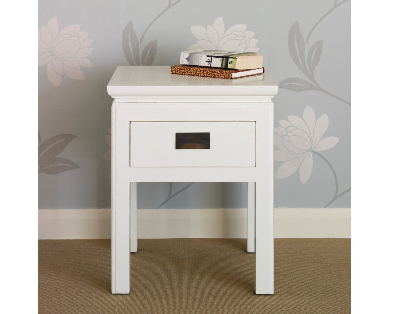 Shanxi white lacquered side table with drawer