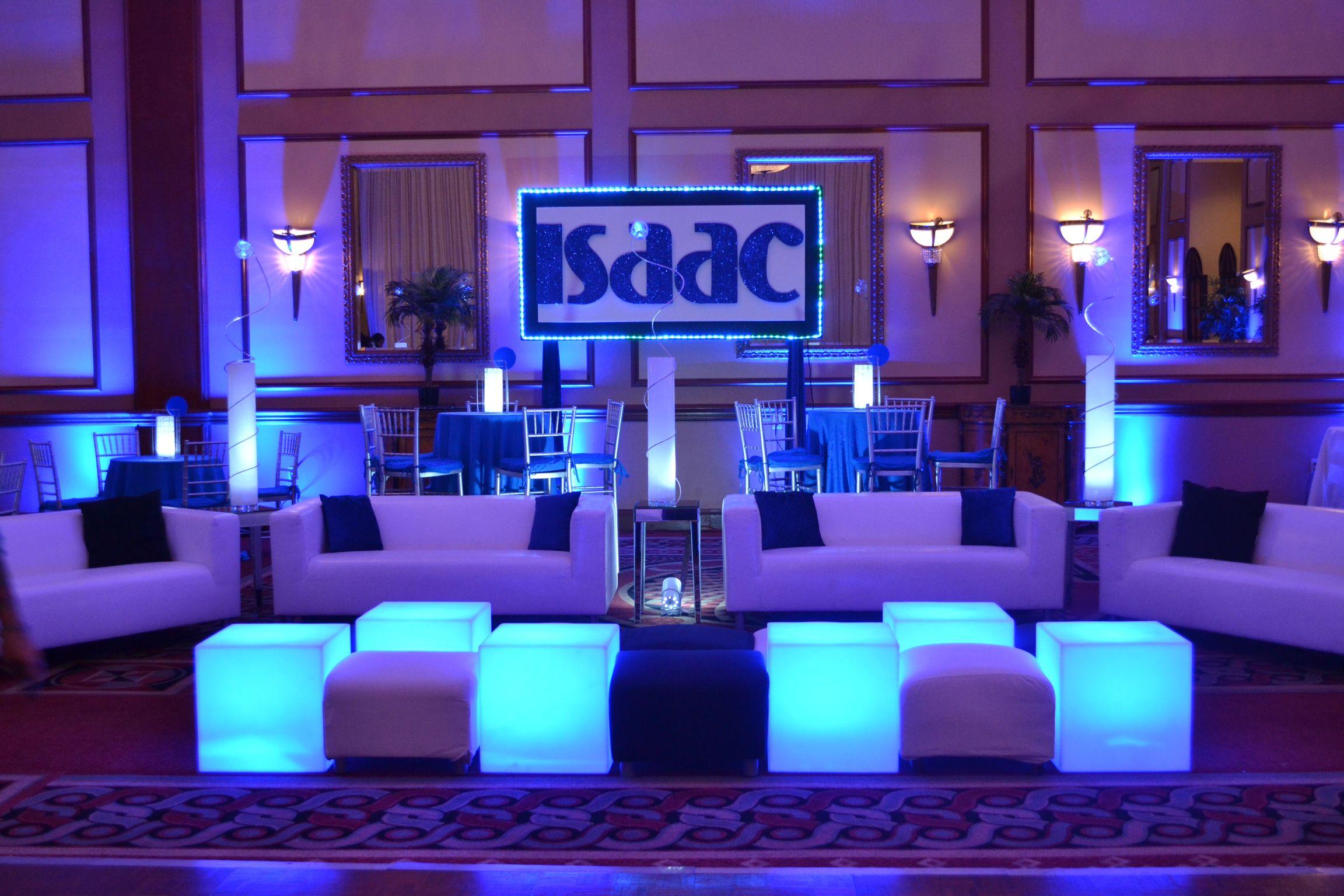 Bar mitzvah event decor blue color scheme glowing sculpture centerpieces party perfect boca raton fl