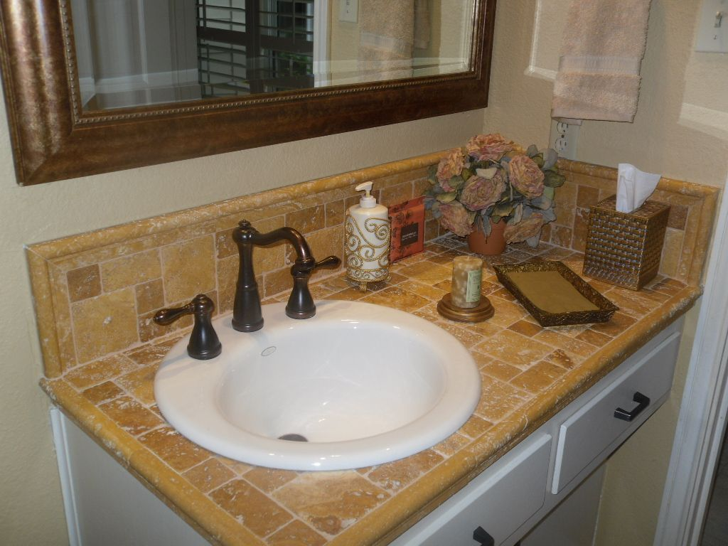 Best Countertops For Bathrooms Travertine Tile Counter Top With Porcelin Sink Master