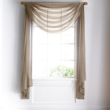 How to Hang a Rod for a Window Scarf Window scarf, Scarf valance - bathroom window curtain ideas