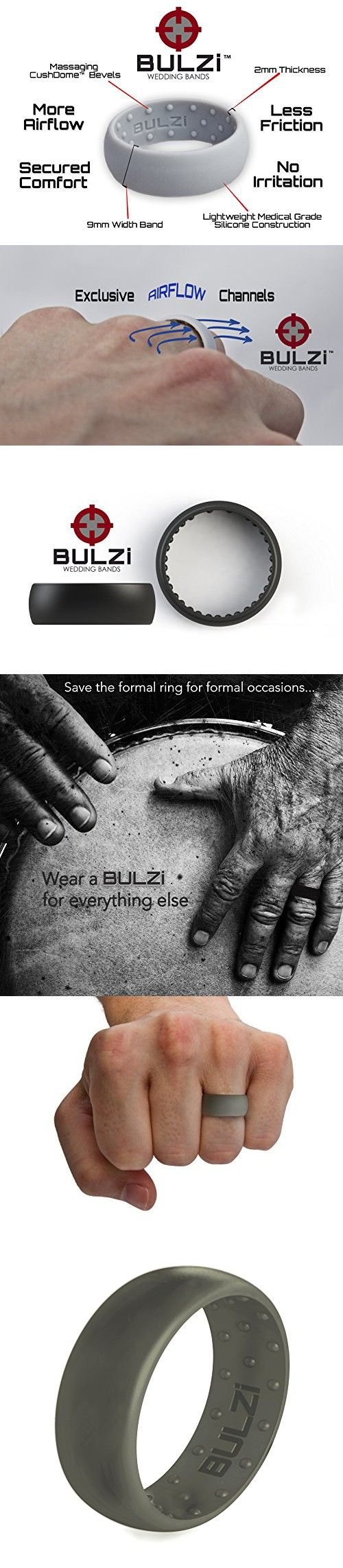 safety wedding band BULZi Massaging Comfort Fit Silicone Wedding Ring Most Comfortable Men s Wedding Band Round Edges with Flexible Work Safety Domed Design 3 PACK Trio