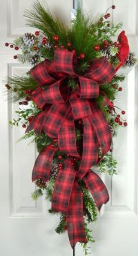 Old Fashioned Christmas Teardrop Swag - Red Plaid ...