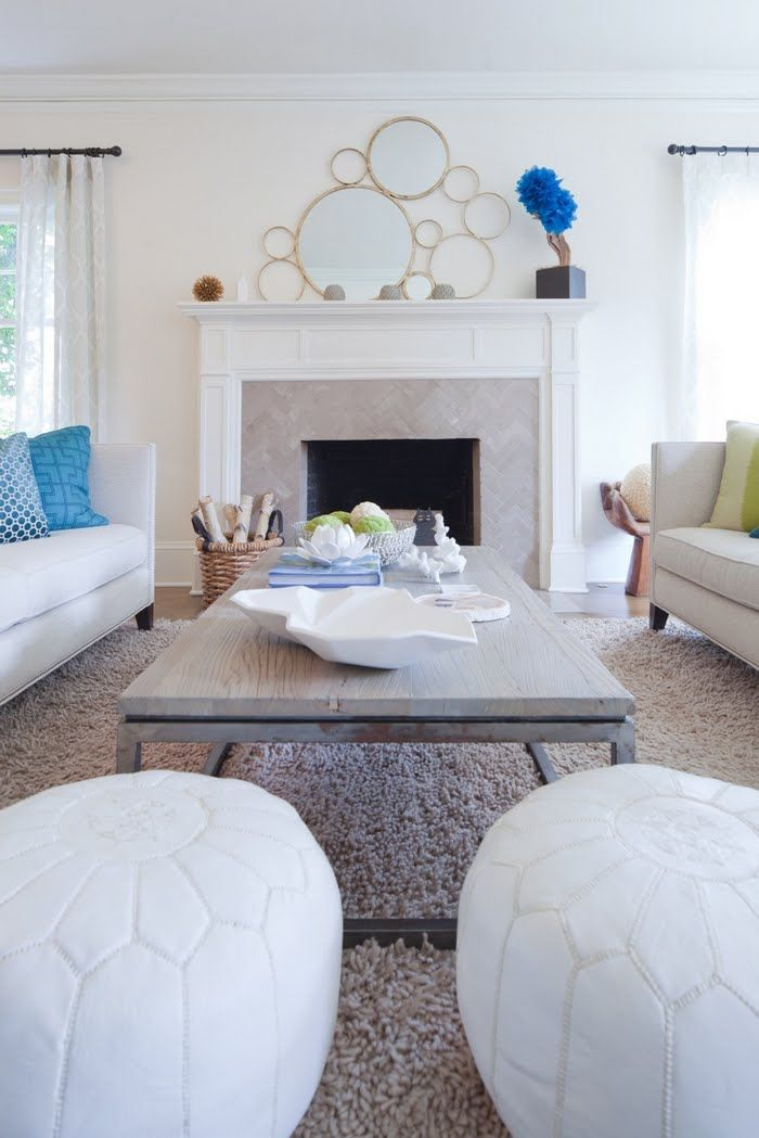 White Leather Moroccan Pouf in classic, glam living room - poufs for living room