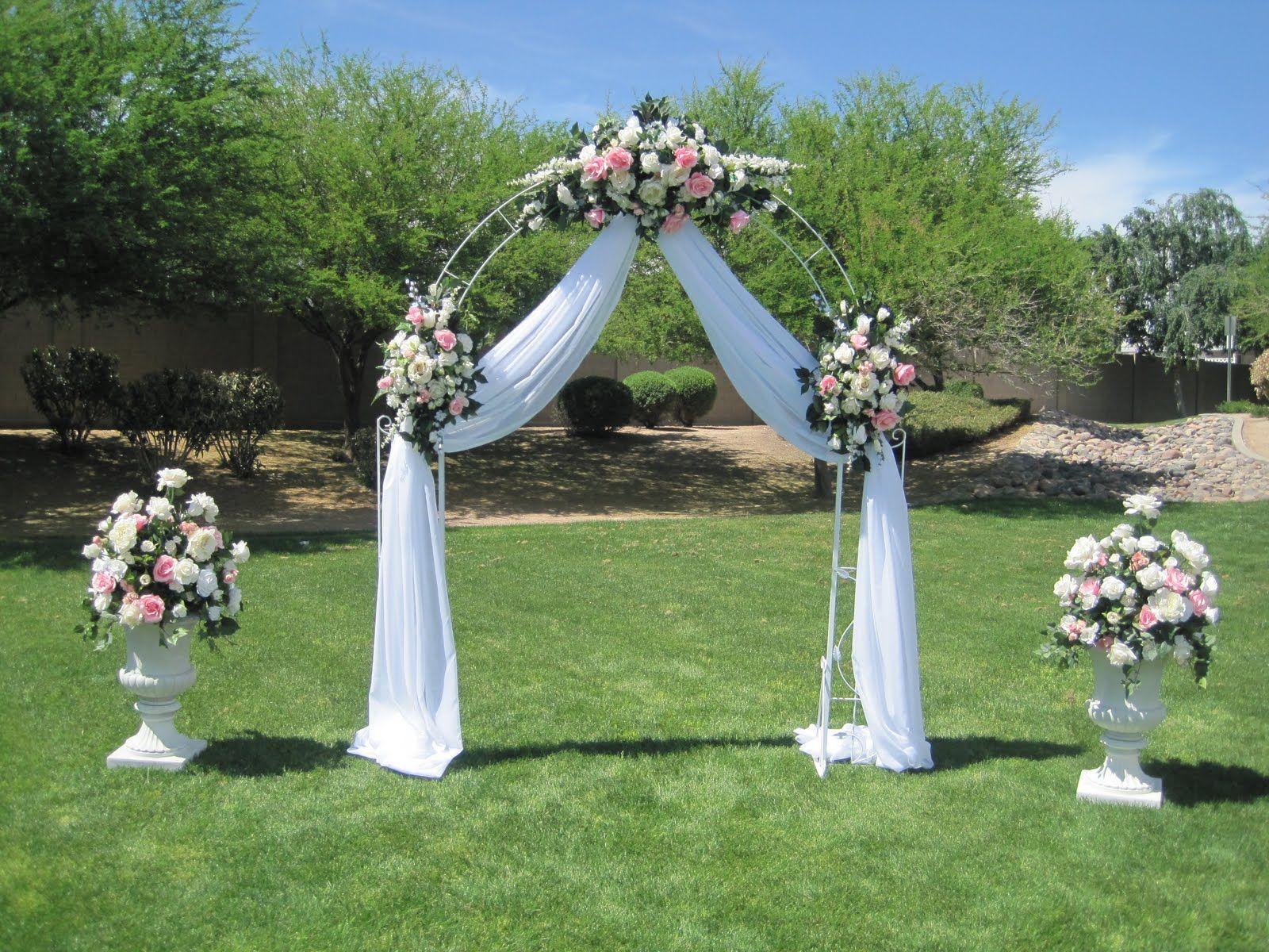 wedding arbor wedding gazebo decorating ideas White wrought iron arch 3 white floral swags voile