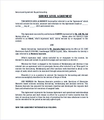 Accounting Service Level Agreement Template , Service Level - business service agreement