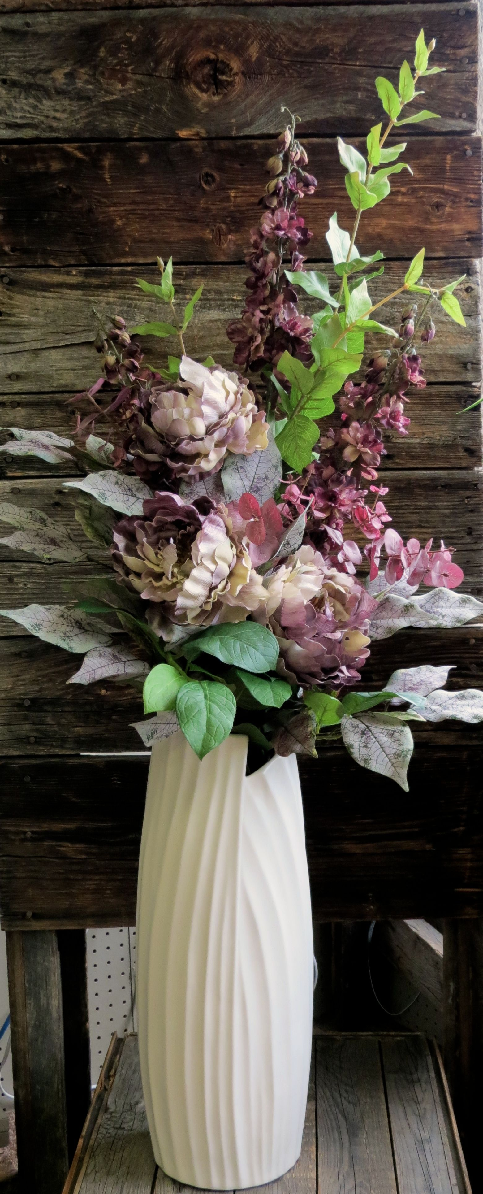 Big Vases For Living Room Tall Floor Vase With Romantic Mauve And Purple Silk Flowers