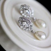 Bridal Earrings Swarovski Crystal Pearl Earrings Small ...