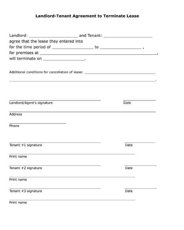 Free printable, black and white, pdf form Landlord, tenant - lease termination form