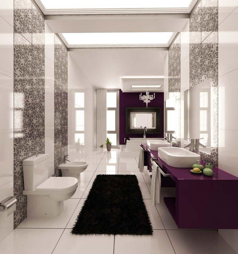 Schmales Badezimmer Design mit moderner, romantischer Gestaltung - gestaltung badezimmer nice ideas