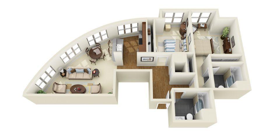 3D Floor Plans Photorealistic 3D Floor Plans for Multi-Family - 3d house plans