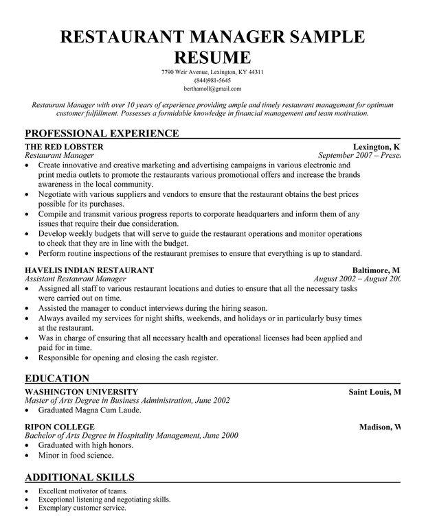 Restaurant Manager Resume Template Business Articles Pinterest - cover letter for restaurant job