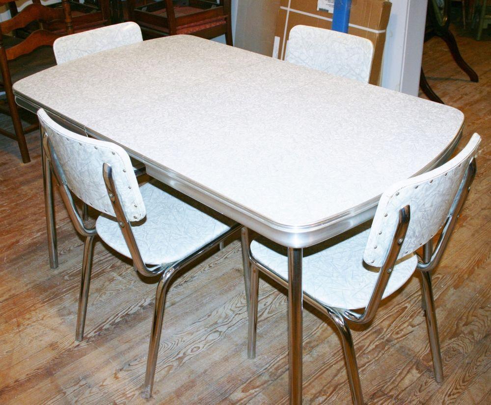 vintage kitchen tables vintage s Kitchen Dinette set table 4 chair silver gray formica chrome retro
