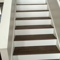 Luxury Vinyl Plank on Stairs with White Risers. | Luxury ...