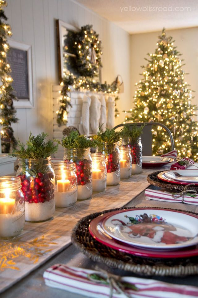 32 Fun and Simple Christmas Table Decoration Ideas Epsom salt - christmas table decorations pinterest
