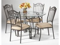 "black wrought iron table and chair sets | 48"" Round ..."