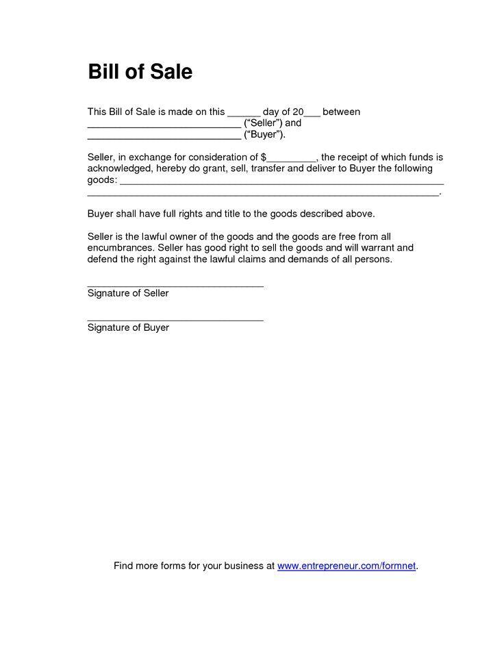 Basic Bill of Sale Form - Printable Blank Form Template Blank - bill of sale microsoft word