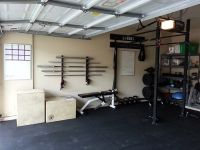 Sweet bar rack, bra. I kid, nice garage gym | Garage Gym ...