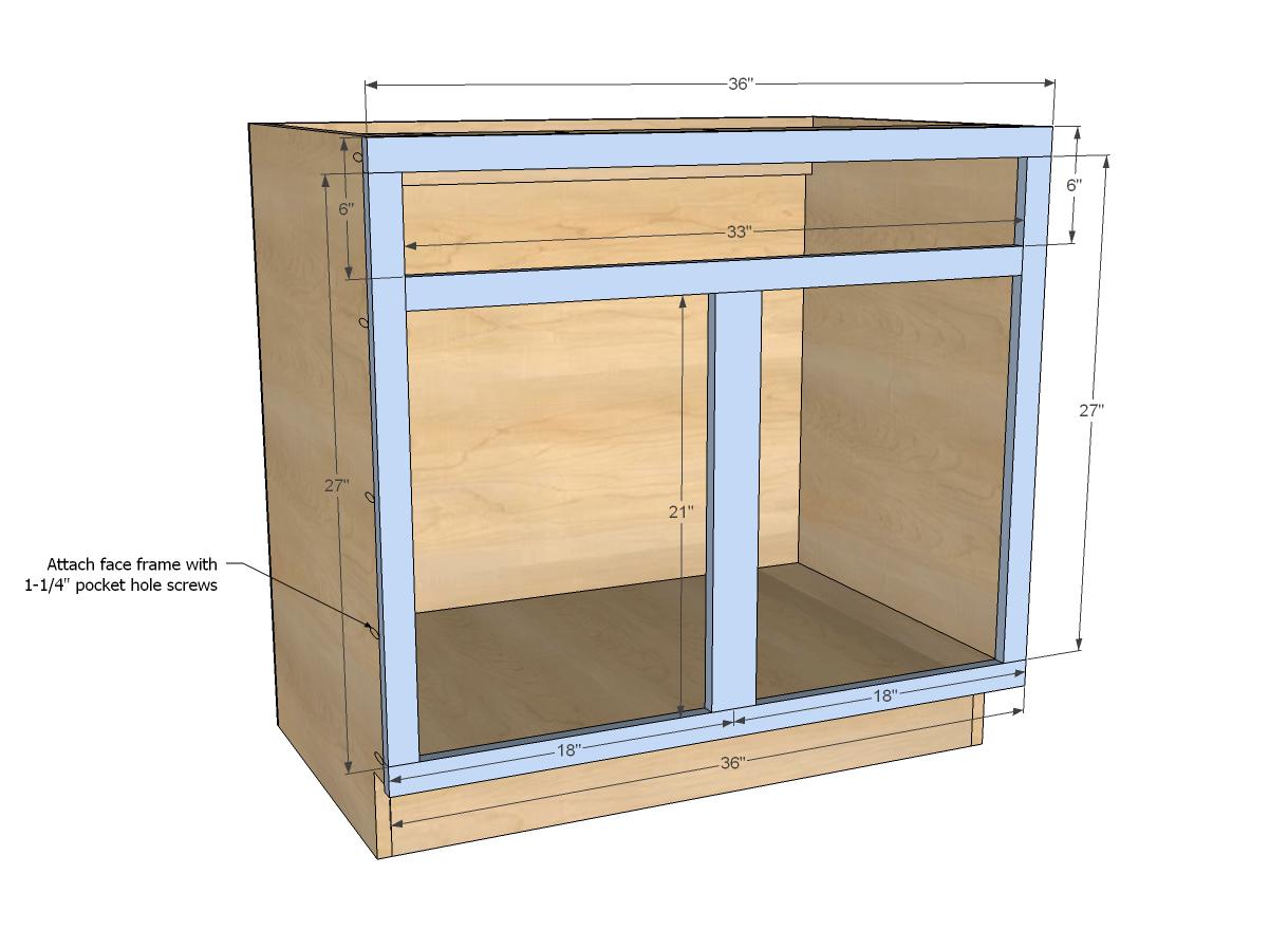 kitchen sink sizes Ana White Build a 36 Sink Base Kitchen Cabinet Momplex Vanilla Kitchen
