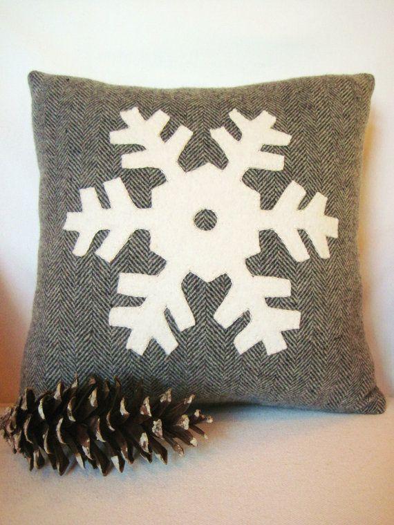 Decorative Christmas Pillow \/ Gray Snowflake Pillow by AwayUpNorth - decorative christmas pillows