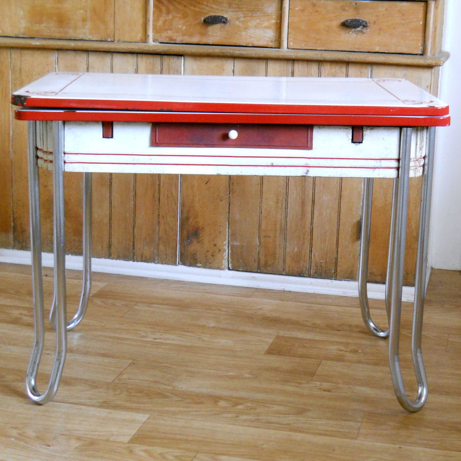 Table With Slide Out Leaves Vintage Enamel Top Table Red And White Metal Chrome And