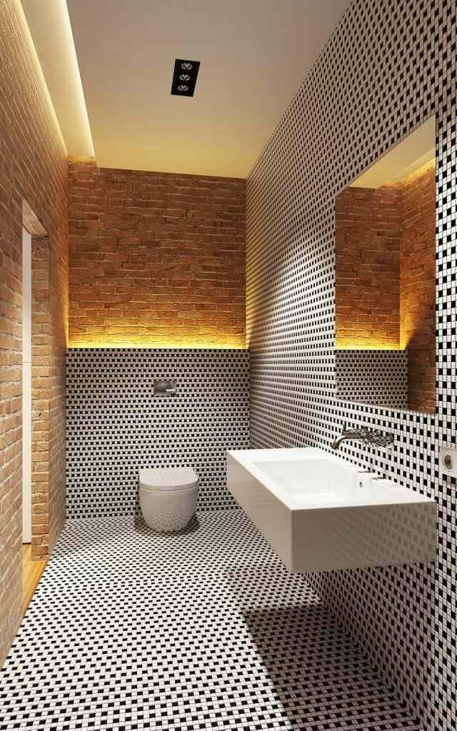 bad ohne fenster schwarz weiße mosaik backsteinwand indirekte - badezimmer ohne fenster