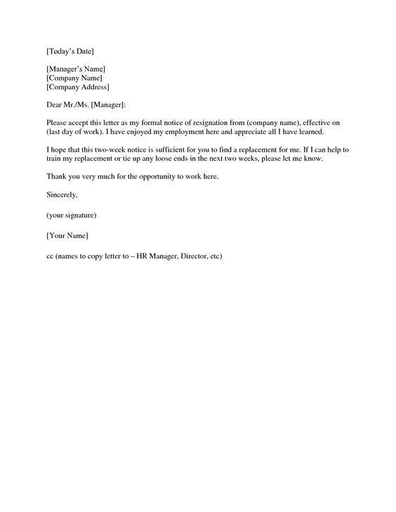 2 weeks notice letter Resignation Letter 2 Week Notice Fonts - resignation letters no notice