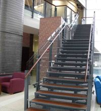Metal Staircase   Wood Tread, Laser Cut Steel Risers ...