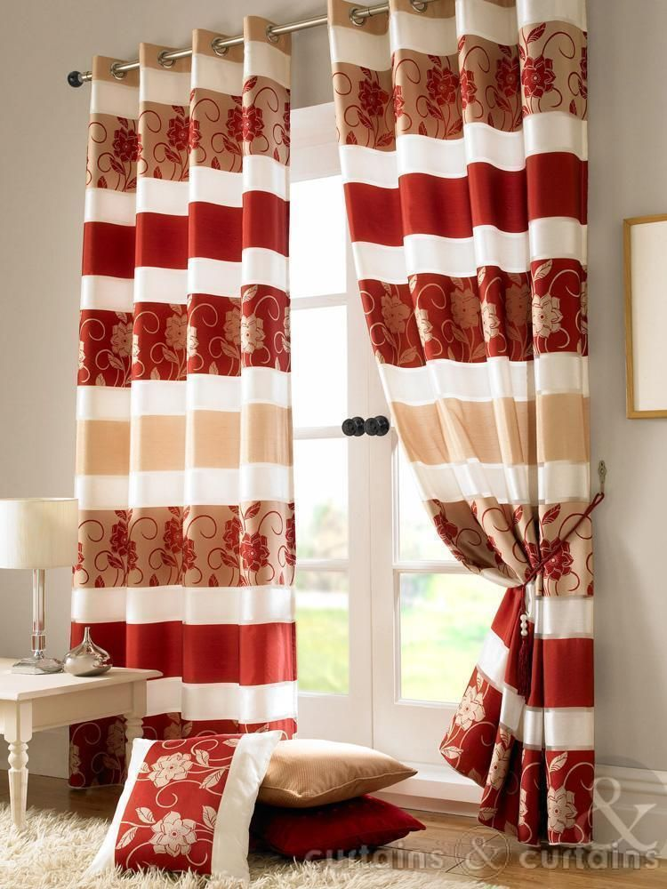 Jasmine Floral Red \ Gold Taffeta Eyelet Lined Curtain Red - red curtains for living room