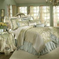 Luxury white gold and blue bedding set | decoracion ...