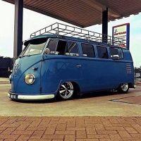 #Vw bus blue with roof rack slammed | VW T1 | Pinterest ...