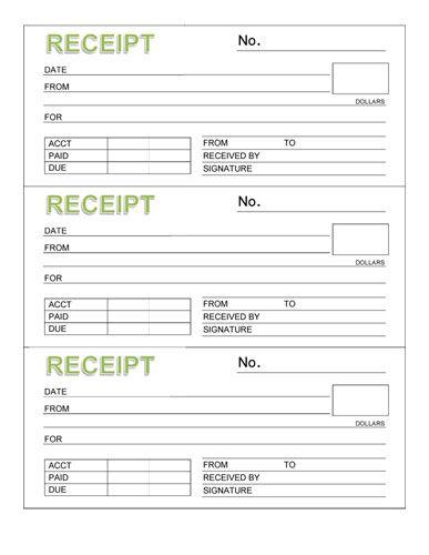 Rent Receipt Book (Three Receipts per Page) - Microsoft Word - microsoft word receipt template free