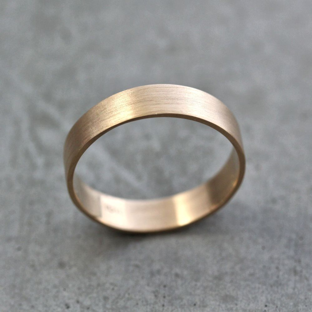 brushed gold wedding band Men s Gold Wedding Band Unisex 5mm Wide Brushed Flat 10k Recycled Yellow Gold Wedding Ring Gold Ring US Size 8 5 Ready to Ship