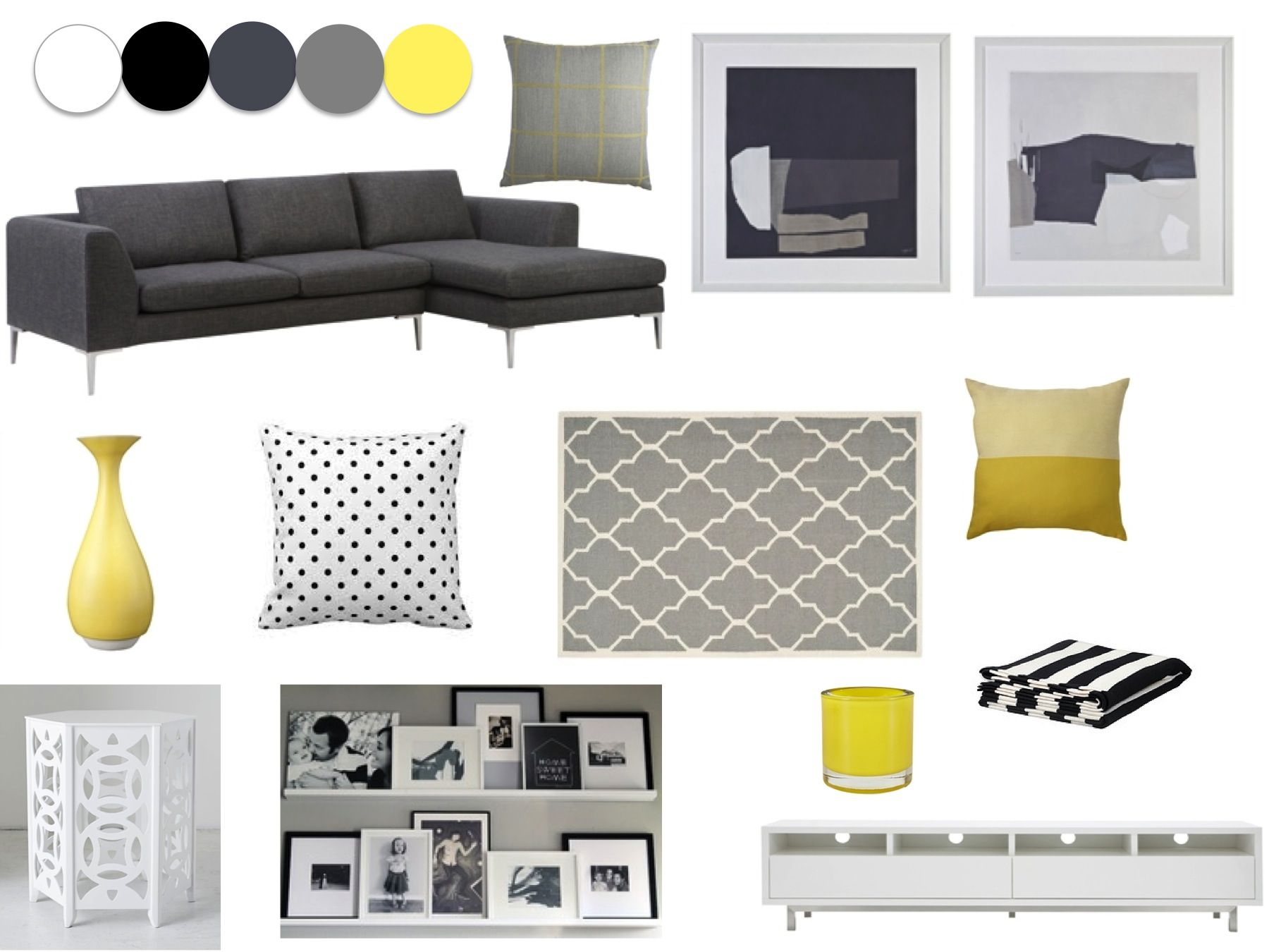 Wohnzimmer Gestalten Grau Weiss Grey Yellow White And Black Living Room Our New Home